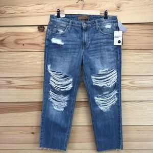 Joes Jeans 29 Sawyer Crop Boyfriend Slim Ripped